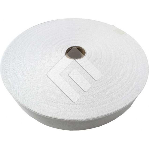 Cadarço Sarjado Editex 100 % Algodão Branco  - 30 mm  Rolo c/ 50 metros