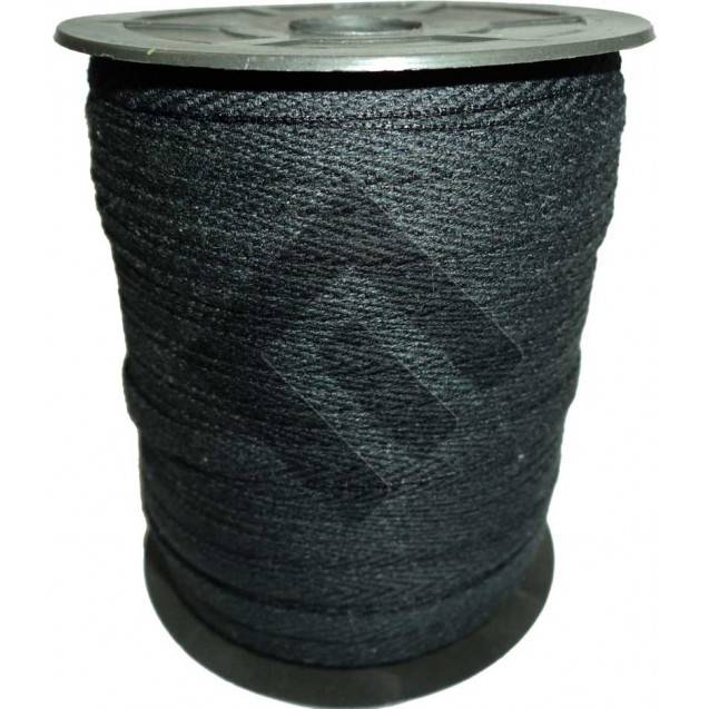 Cadarço Sarjado Editex 99 % Algodão e 1 % Poliéster Preto  -  05 mm Carretel c/ 100 metros