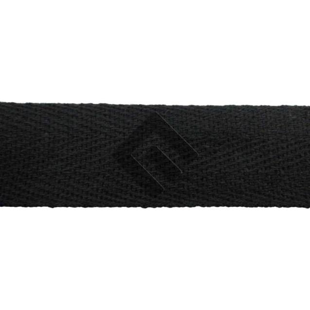 Cadarço Sarjado Editex 99 % algodão e 1 % Poliéster Preto  - 12 mm Rolo c/ 50 metros